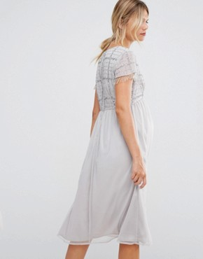 photo Midi Dress with Embellished Bodice and Fringed Sequin Detail by Maya Maternity, color Silver - Image 2