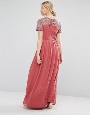 photo Pleated Maxi Dress with Pearl Embellishment by Maya Maternity, color Pink - Image 2