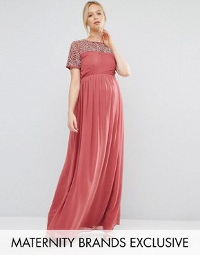 photo Pleated Maxi Dress with Pearl Embellishment by Maya Maternity, color Pink - Image 1