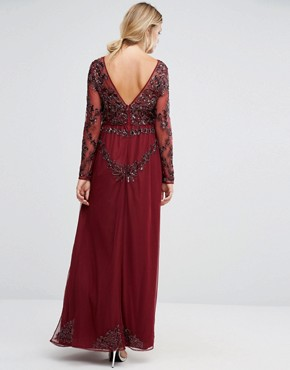 photo Long Sleeve Sheer Embellished Lace Maxi Dress by Maya Maternity, color Burgundy - Image 2