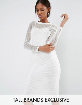 photo Kicks Back Mesh Grid Long Sleeve Bodycon Dress by Noisy May Tall, color White - Image 1