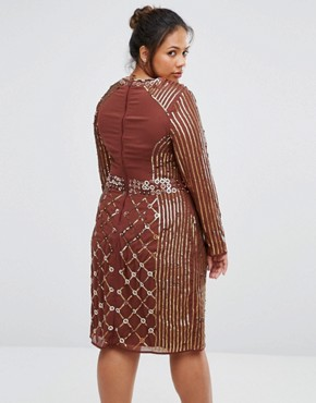 photo Long Sleeve Stud Embellished Shift Dress by Lovedrobe Luxe, color Chocolate - Image 2