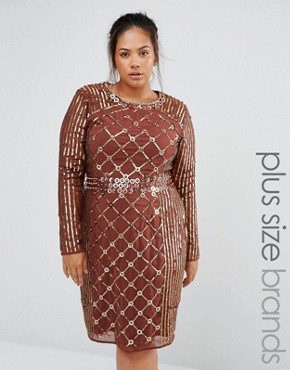 photo Long Sleeve Stud Embellished Shift Dress by Lovedrobe Luxe, color Chocolate - Image 1