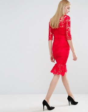 photo All Over Lace Dress with Peplum Hem Detail by Paper Dolls Tall, color Red - Image 2