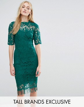 photo All Over Lace Dress with Contrast Lining and Tassel Hem by Paper Dolls Tall, color Emerald - Image 1
