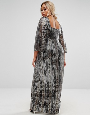 photo All Over Embellished Kimono Sleeve Maxi Dress by Lovedrobe Luxe, color Gold - Image 2