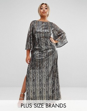 photo All Over Embellished Kimono Sleeve Maxi Dress by Lovedrobe Luxe, color Gold - Image 1