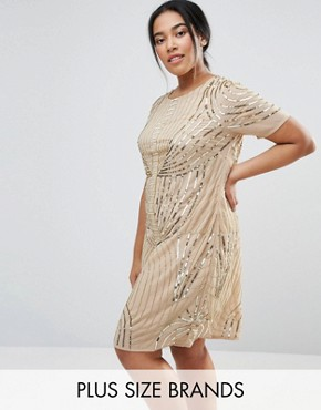 photo Embellished Shift Dress by Lovedrobe Luxe, color Gold - Image 1