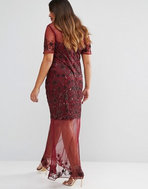 photo Sheer Embellished Maxi Dress by Lovedrobe Luxe, color Burgundy - Image 2