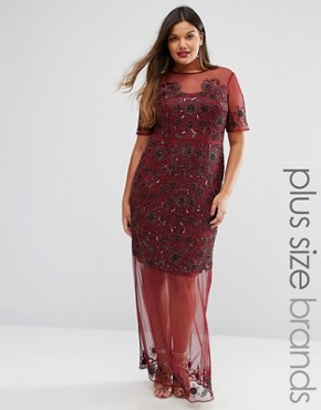 photo Sheer Embellished Maxi Dress by Lovedrobe Luxe, color Burgundy - Image 1