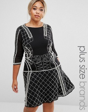 photo Embellished Dress with Flippy Skirt by Lovedrobe Luxe, color Black - Image 1