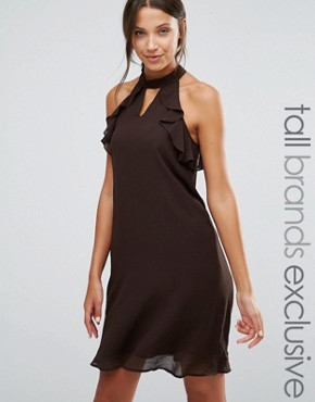 photo Frill Sleeve Shift Dress by True Decadence Tall, color Chocolate - Image 1