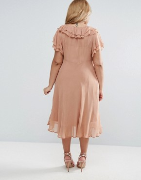 photo Midi Tea Dress With Pretty Ruffles by ASOS CURVE, color Mink - Image 2