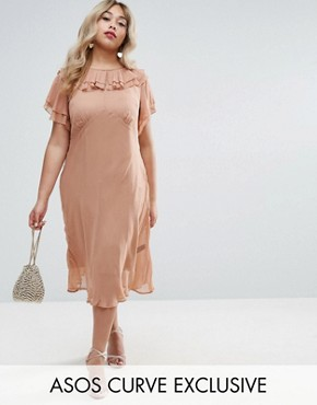 photo Midi Tea Dress With Pretty Ruffles by ASOS CURVE, color Mink - Image 1