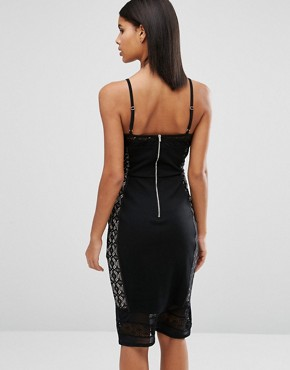 photo Cami Insert Lace Dress by Oasis, color Black - Image 2