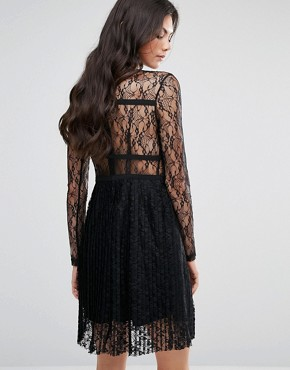 photo All Over Lace Long Sleeve Skater Dress by Fashion Union Tall, color Black - Image 2