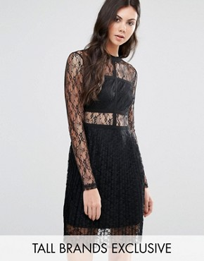 photo All Over Lace Long Sleeve Skater Dress by Fashion Union Tall, color Black - Image 1