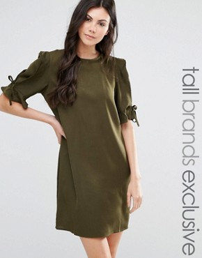 photo Shift Dress with Tie Sleeve Detail by Fashion Union Tall, color Khaki - Image 1