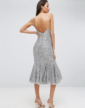 photo Scattered Sequin Midi Fishtail Dress by ASOS RED CARPET, color Silver - Image 2