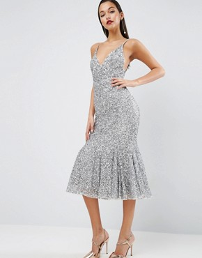 photo Scattered Sequin Midi Fishtail Dress by ASOS RED CARPET, color Silver - Image 1