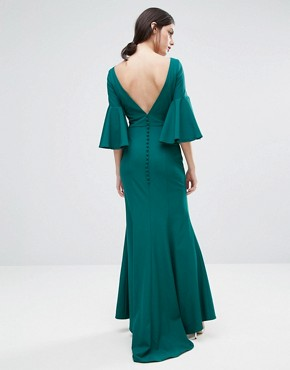 photo Maxi Dress with Bell Sleeve and Button Back Detail by Jarlo Petite, color Emerald - Image 2