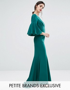 photo Maxi Dress with Bell Sleeve and Button Back Detail by Jarlo Petite, color Emerald - Image 1
