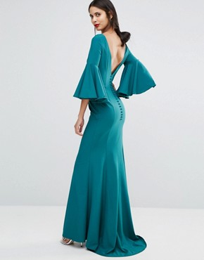 photo Maxi Dress with Bell Sleeve and Button Back Detail by Jarlo Tall, color Emerald - Image 2