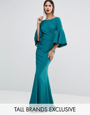 photo Maxi Dress with Bell Sleeve and Button Back Detail by Jarlo Tall, color Emerald - Image 1