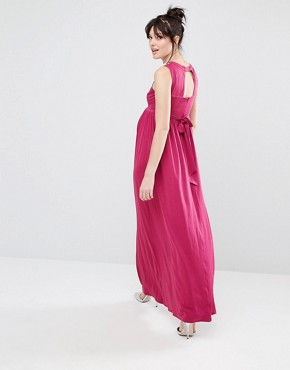 photo Sleeveless Maxi Dress with Floral Embellished Shoulders by Little Mistress Maternity, color Pink - Image 2