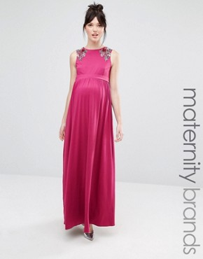 photo Sleeveless Maxi Dress with Floral Embellished Shoulders by Little Mistress Maternity, color Pink - Image 1