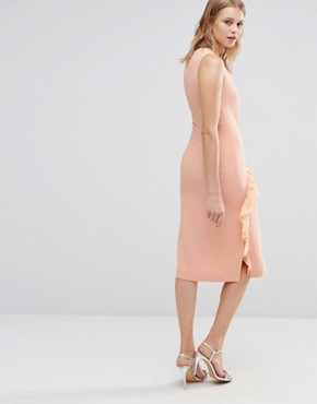 photo Frill Front Dress by Warehouse, color Peach - Image 2
