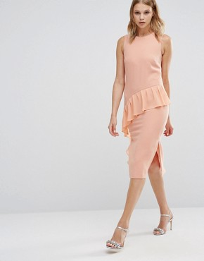 photo Frill Front Dress by Warehouse, color Peach - Image 1