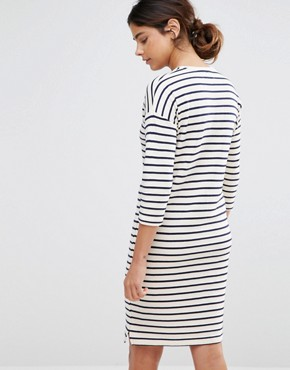 photo Cocoon Stripe Dress by Native Youth, color Ecru - Image 2