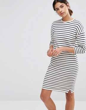 photo Cocoon Stripe Dress by Native Youth, color Ecru - Image 1