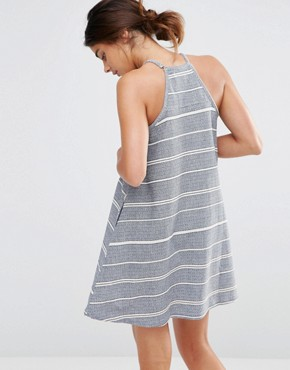 photo High Neck Stripe Dress by Native Youth, color Blue/Ecru - Image 2