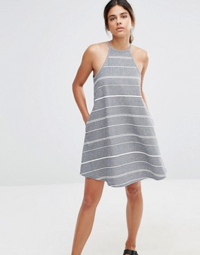 photo High Neck Stripe Dress by Native Youth, color Blue/Ecru - Image 1