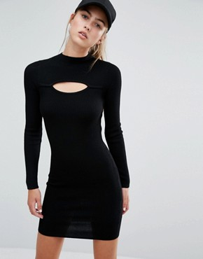 photo Slit Front Rib Mini Dress by Miss Selfridge, color Black - Image 1