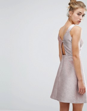 photo Metallic Skater Dress by Miss Selfridge, color Metallic - Image 2