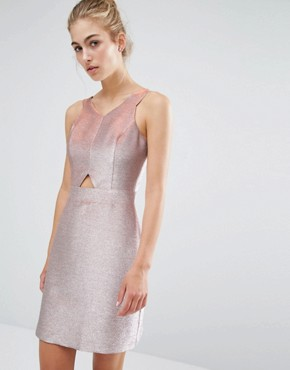 photo Metallic Skater Dress by Miss Selfridge, color Metallic - Image 1