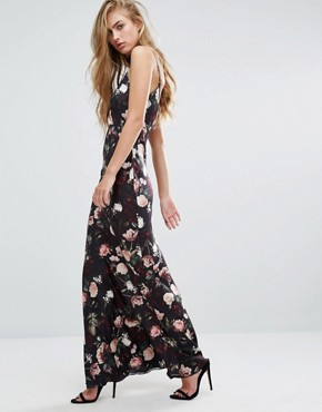 photo Rose Print Satin Maxi Slip Dress by Miss Selfridge, color  - Image 2