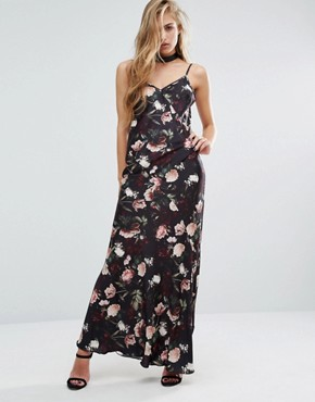 photo Rose Print Satin Maxi Slip Dress by Miss Selfridge, color  - Image 1