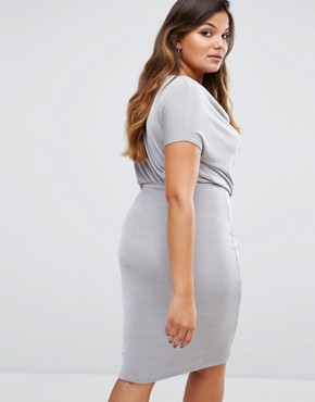 photo Size Slinky Cowl Neck Gathered Midi Dress by Missguided Plus, color Grey - Image 2