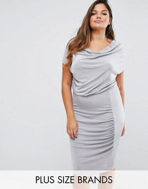 photo Size Slinky Cowl Neck Gathered Midi Dress by Missguided Plus, color Grey - Image 1