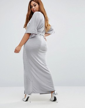 photo Belted Kimono Sleeve Maxi Dress by Missguided Plus, color Grey - Image 2
