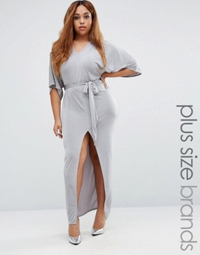 photo Belted Kimono Sleeve Maxi Dress by Missguided Plus, color Grey - Image 1
