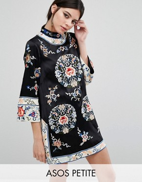 photo Embroidered Tunic Shift by ASOS PETITE, color Black - Image 1