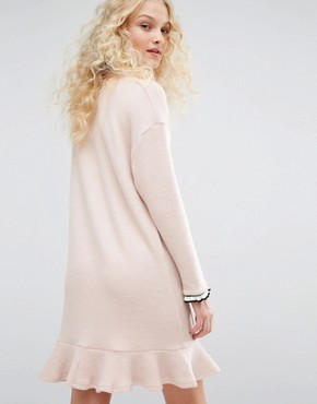 photo Crew Neck Dress with Frill Hem by I Love Friday, color Pink - Image 2