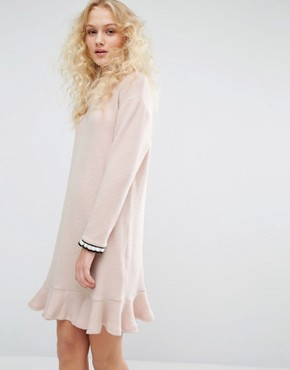 photo Crew Neck Dress with Frill Hem by I Love Friday, color Pink - Image 1