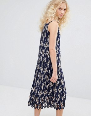 photo Pleated Cami Dress In Floral Print by I Love Friday, color Navy - Image 2