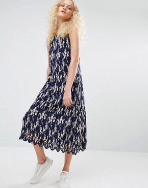 photo Pleated Cami Dress In Floral Print by I Love Friday, color Navy - Image 1